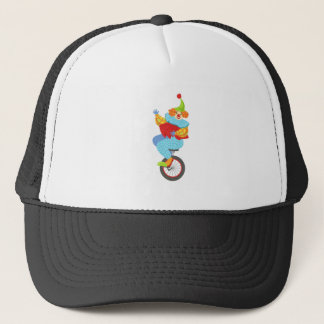 Colorful Friendly Clown Balancing On Unicycle Trucker Hat