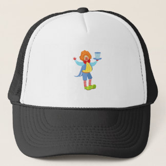 Colorful Friendly Clown Holding Top Hat In Classic