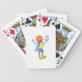Colorful Friendly Clown Holding Top Hat In Classic Bicycle Playing Cards