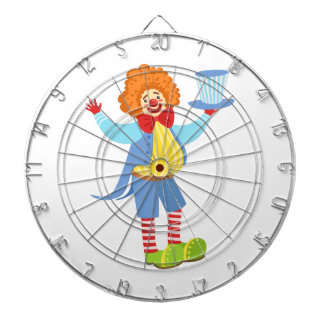 Colorful Friendly Clown Holding Top Hat In Classic Dartboard