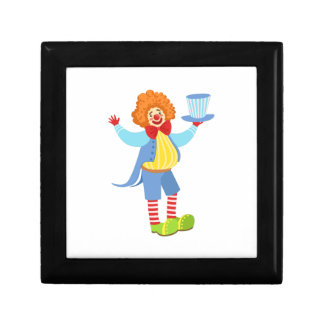 Colorful Friendly Clown Holding Top Hat In Classic Gift Box