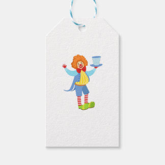 Colorful Friendly Clown Holding Top Hat In Classic Gift Tags
