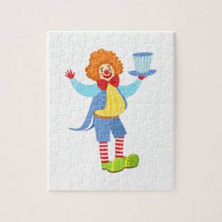 Colorful Friendly Clown Holding Top Hat In Classic Jigsaw Puzzle