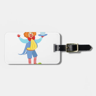 Colorful Friendly Clown Holding Top Hat In Classic Luggage Tag