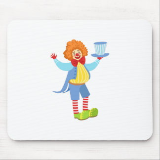 Colorful Friendly Clown Holding Top Hat In Classic Mouse Pad