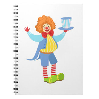 Colorful Friendly Clown Holding Top Hat In Classic Notebook