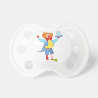 Colorful Friendly Clown Holding Top Hat In Classic Pacifier