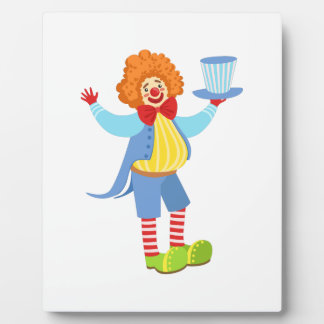 Colorful Friendly Clown Holding Top Hat In Classic Plaque