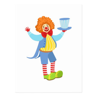 Colorful Friendly Clown Holding Top Hat In Classic Postcard