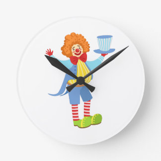 Colorful Friendly Clown Holding Top Hat In Classic Round Clock