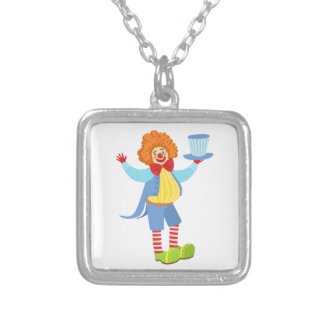 Colorful Friendly Clown Holding Top Hat In Classic Silver Plated Necklace