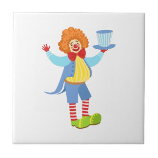 Colorful Friendly Clown Holding Top Hat In Classic Tile