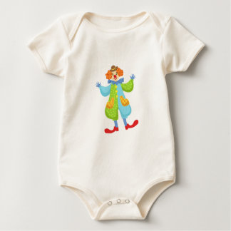 Colorful Friendly Clown In Bowler Hat In Classic O Baby Bodysuit