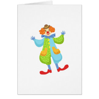 Colorful Friendly Clown In Bowler Hat In Classic O Card