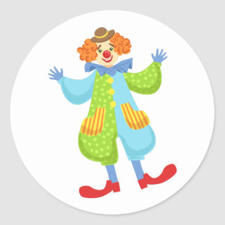 Colorful Friendly Clown In Bowler Hat In Classic O Classic Round Sticker