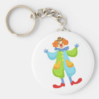 Colorful Friendly Clown In Bowler Hat In Classic O Keychain