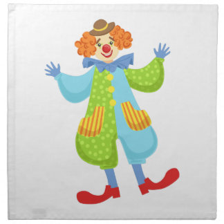 Colorful Friendly Clown In Bowler Hat In Classic O Napkin