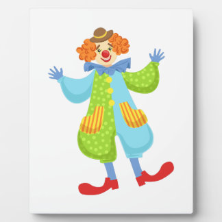 Colorful Friendly Clown In Bowler Hat In Classic O Plaque