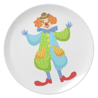 Colorful Friendly Clown In Bowler Hat In Classic O Plate