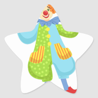 Colorful Friendly Clown In Bowler Hat In Classic O Star Sticker