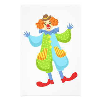 Colorful Friendly Clown In Bowler Hat In Classic O Stationery