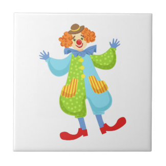 Colorful Friendly Clown In Bowler Hat In Classic O Tile