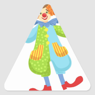 Colorful Friendly Clown In Bowler Hat In Classic O Triangle Sticker