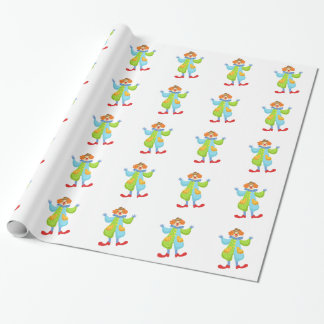 Colorful Friendly Clown In Bowler Hat In Classic O Wrapping Paper