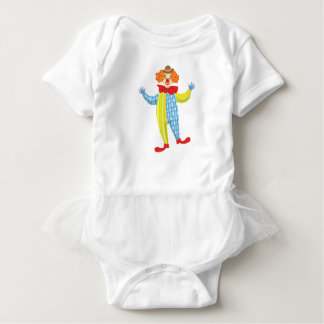 Colorful Friendly Clown In Derby Hat And Classic Baby Bodysuit