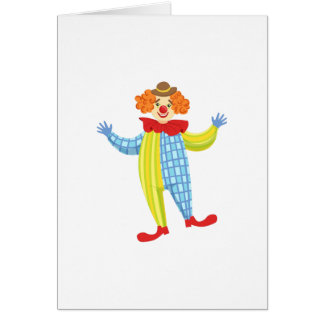 Colorful Friendly Clown In Derby Hat And Classic Card