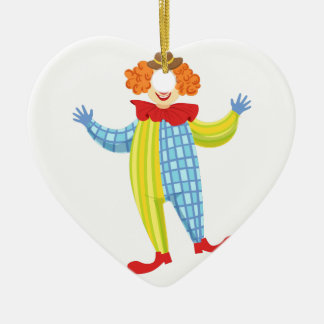 Colorful Friendly Clown In Derby Hat And Classic Ceramic Ornament