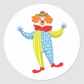Colorful Friendly Clown In Derby Hat And Classic Classic Round Sticker