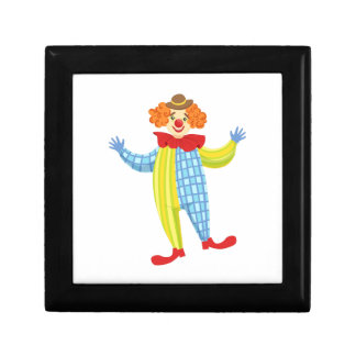 Colorful Friendly Clown In Derby Hat And Classic Gift Box