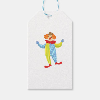 Colorful Friendly Clown In Derby Hat And Classic Gift Tags