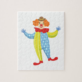 Colorful Friendly Clown In Derby Hat And Classic Jigsaw Puzzle