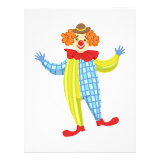 Colorful Friendly Clown In Derby Hat And Classic Letterhead