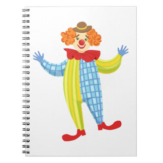 Colorful Friendly Clown In Derby Hat And Classic Notebook