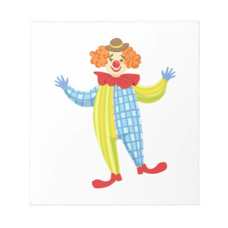 Colorful Friendly Clown In Derby Hat And Classic Notepad