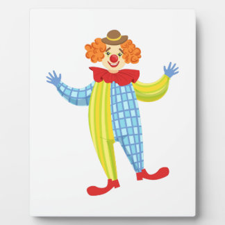 Colorful Friendly Clown In Derby Hat And Classic Plaque