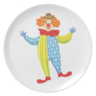 Colorful Friendly Clown In Derby Hat And Classic Plate