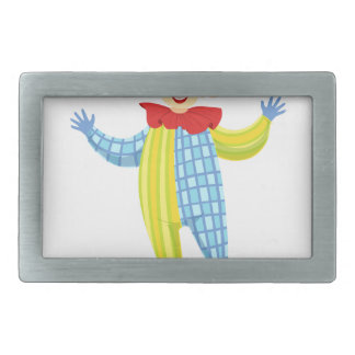 Colorful Friendly Clown In Derby Hat And Classic Rectangular Belt Buckle