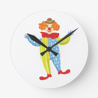 Colorful Friendly Clown In Derby Hat And Classic Round Clock