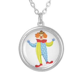 Colorful Friendly Clown In Derby Hat And Classic Silver Plated Necklace