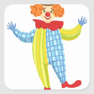 Colorful Friendly Clown In Derby Hat And Classic Square Sticker