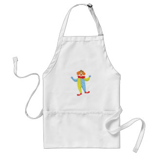 Colorful Friendly Clown In Derby Hat And Classic Standard Apron