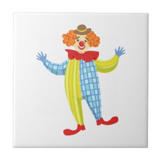 Colorful Friendly Clown In Derby Hat And Classic Tile