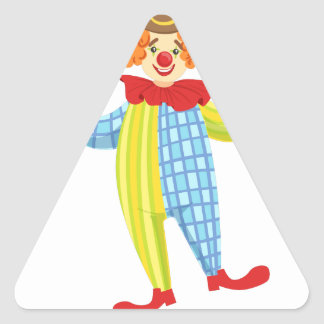 Colorful Friendly Clown In Derby Hat And Classic Triangle Sticker