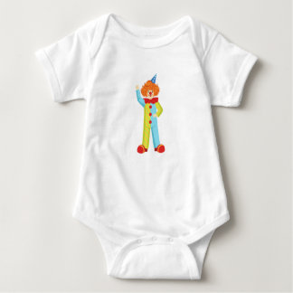Colorful Friendly Clown In Party Hat Classic Outfi Baby Bodysuit