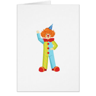 Colorful Friendly Clown In Party Hat Classic Outfi Card