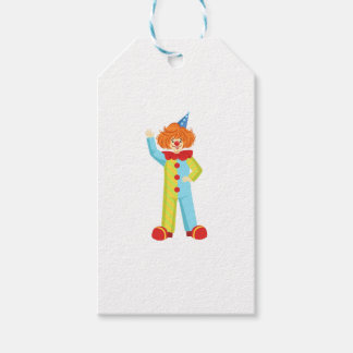 Colorful Friendly Clown In Party Hat Classic Outfi Gift Tags